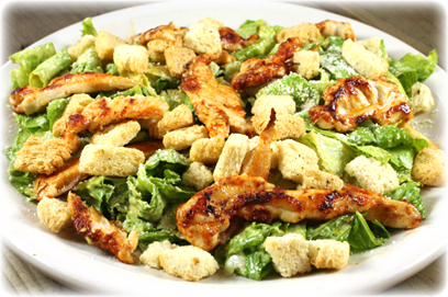 Caesar Salad with Parmesan Cheese, Coutons and Chicken