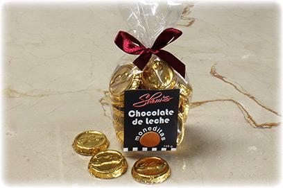 Monedas de chocolate con leche