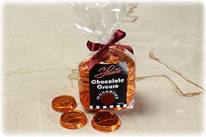 Monedas de chocolate oscuro